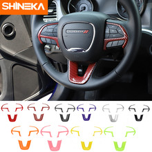 SHINEKA – accessoires d'intérieur pour Dodge Challenger 2015 +, couverture décorative pour volant de voiture, autocollants pour Dodge Charger 2015 +