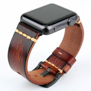 Image 4 - Correa de reloj de cuero de vaca hecha a mano repuesto para Apple Watch Band 44mm 40mm 42mm 38mm Series SE 6 5 4 3 2 iWatch Watch pulsera