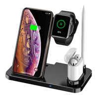 Nowy 4 w 1 szybka bezprzewodowa ładowarka dla Apple zegarek iWatch 1 2 3 4 Airpods QI bezprzewodowa ładowarka stacja dokująca do iPhone'a XR XS MAX do telefonu