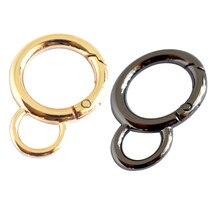10 pces 20mm redondo snap ganchos fechos com olho fixo liga de zinco mola porta o anel chaveiro organizando encantos acessório