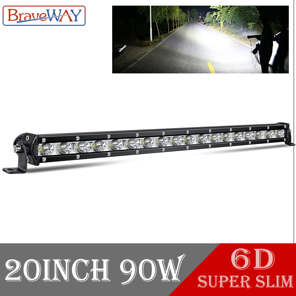 BraveWay Single Row 30W 90W Led Light Bar Work 4x4 Offroad Light 12V 24V Combo Beam For Offroad 4WD Truck 12V 24V Barra Led Bar