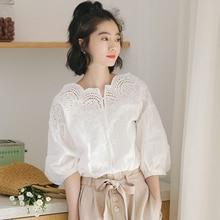 Shirt Women Puff-Sleeve Lamtrip White Summer Top Slim Vintage Hollow-Out Lacing Slash-Neck