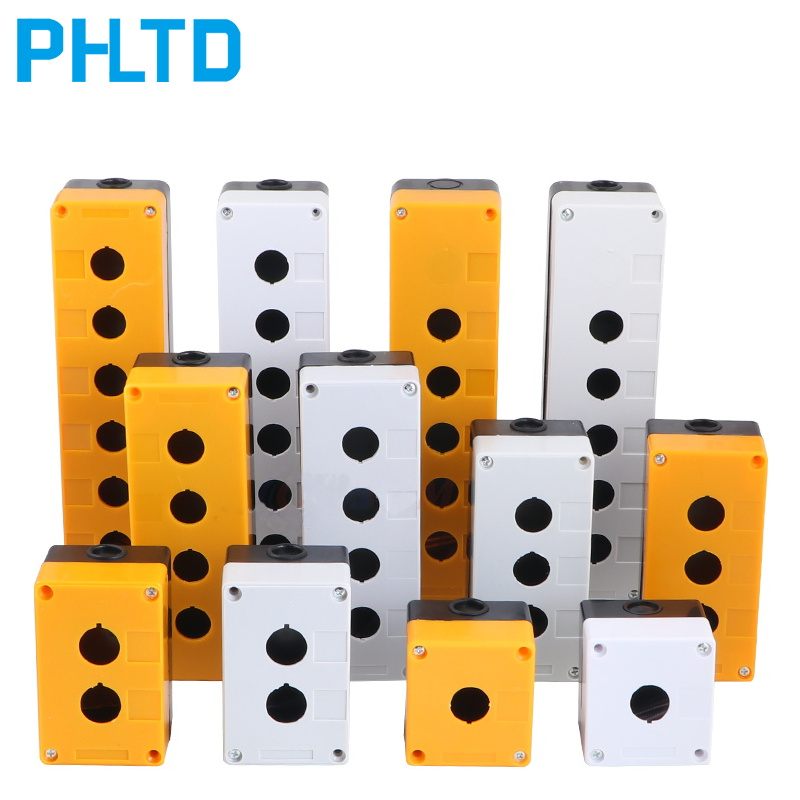 12345 Hole Button Switch Control Box Emergency Stop Dustproof Waterproof Button Indicator Box Plastic Button Box