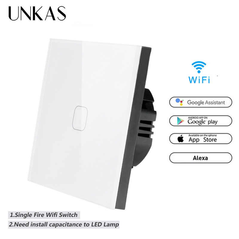 UNKAS EU Standard 1 Gang Tuya/Smart Life/ewelink WiFi smart switch Touch Switch for Google Home Amazon Alexa Voice Control