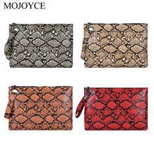 Female Fashion Square Snake Print Wristlet Clutch Women Casual Purse PU Leather Money Phone Pouch Wallet Torebki Damskie