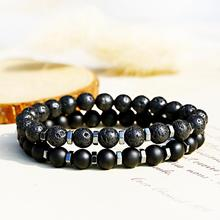 Fashion Diffuser Bracelet Men Natural Black Volcanic Bead Bracelet Chakra Lava Stone Bracelets Men Jewelry Gift Pulsera Hombre fashion obsidian tiger eye stone bracelets for men new natural stone beads man bracelet men charm yoga jewelry gift 2020 pulsera