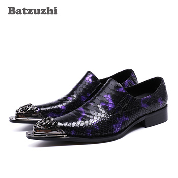 Batzuzhi Luxury Handmade Leather Shoes Men Silver Iron Toe Pointed Formal Dress Shoes Men Oxfords Party and Wedding Shoes, US12 deification luxury brand men oxfords shoes blue metal toe genuine leather dress party shoes crystal studded mens wedding shoes