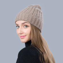 Beanie Women Winter Hat Knit Wool Autumn Warm Cap Brim Skiing Outdoor Accessory For Girl Teenagers