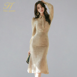 H Han Queen Skirt Suit Women Sexy Work Wear 2 Pieces Set Hollow out Lace Blouses & High Waist Mermaid Skirt 2020 Spring Summer(China)