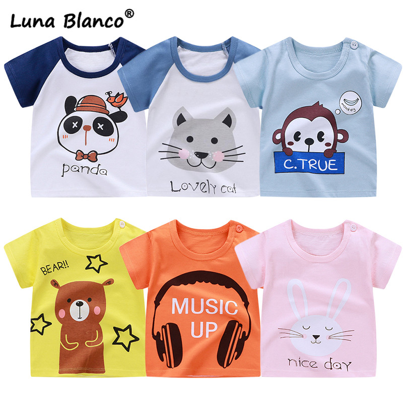 Summer Unisex 6M-6T short-sleeved T-shirt 2020 Newest Cotton Children's Clothing <font><b>tshirts</b></font> girl <font><b>baby</b></font> boy girl tops O-Neck t-shirt image