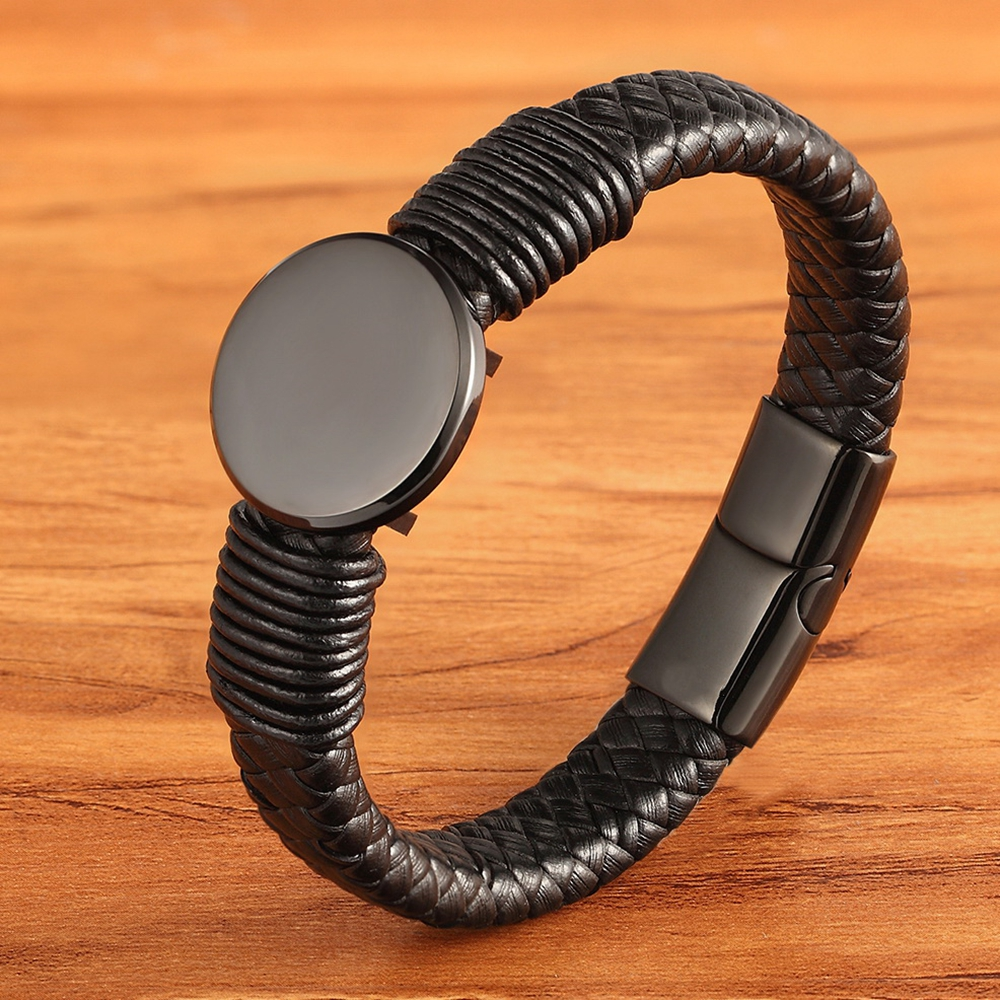 Round Large Accessory Men's Luxury Leather Bracelet Multicolor Choice Black Leather Hand Woven Classic Birthday Gift Selling