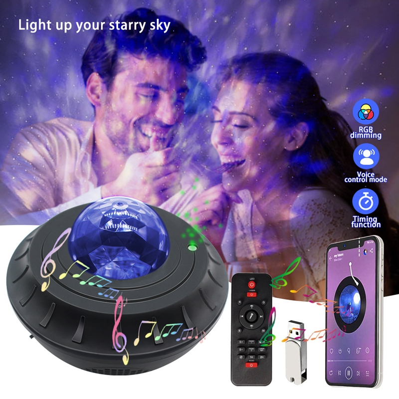 Colorful Starry Sky Galaxy Projector Light Bluetooth USB Voice Control Music Player Star Projector LED Night Light Kids Gifts