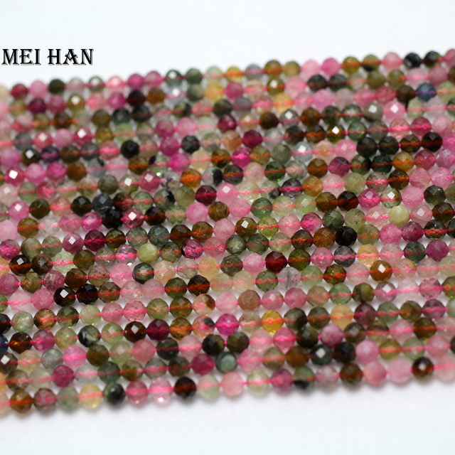 טבעי כיתה 4mm (2 גדילים/סט) צבעוני טורמלין פיאות עגול בעבודת יד loose חרוזים עבור תכשיטי ביצוע עיצוב אבן DIY
