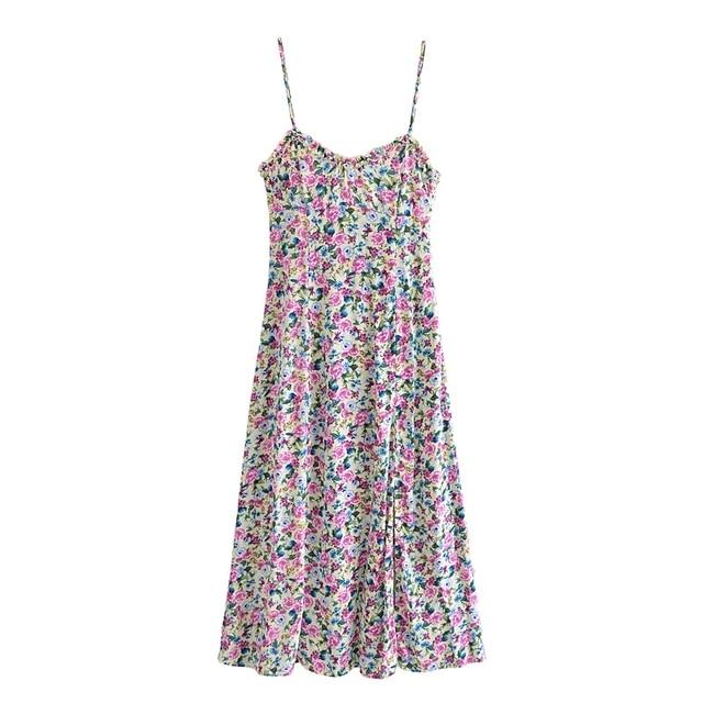Tangada 2021 Fashion Women Flowers Print Back Lace Up Long Dress Sleeveless Backless Female Casual Dress 3H447 6