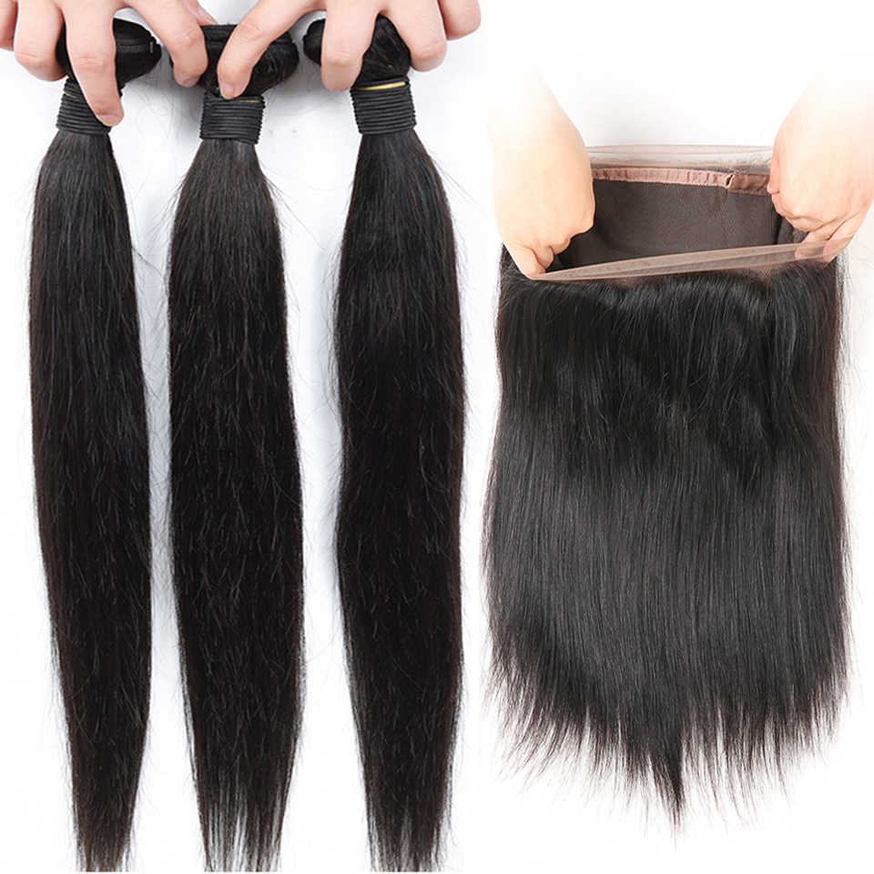 Ariel Peruvian Straight Hair With 360 Lace Frontal Closure Non Remy Human Hair 3 Bundles With 360 Frontal Closure Natural Color