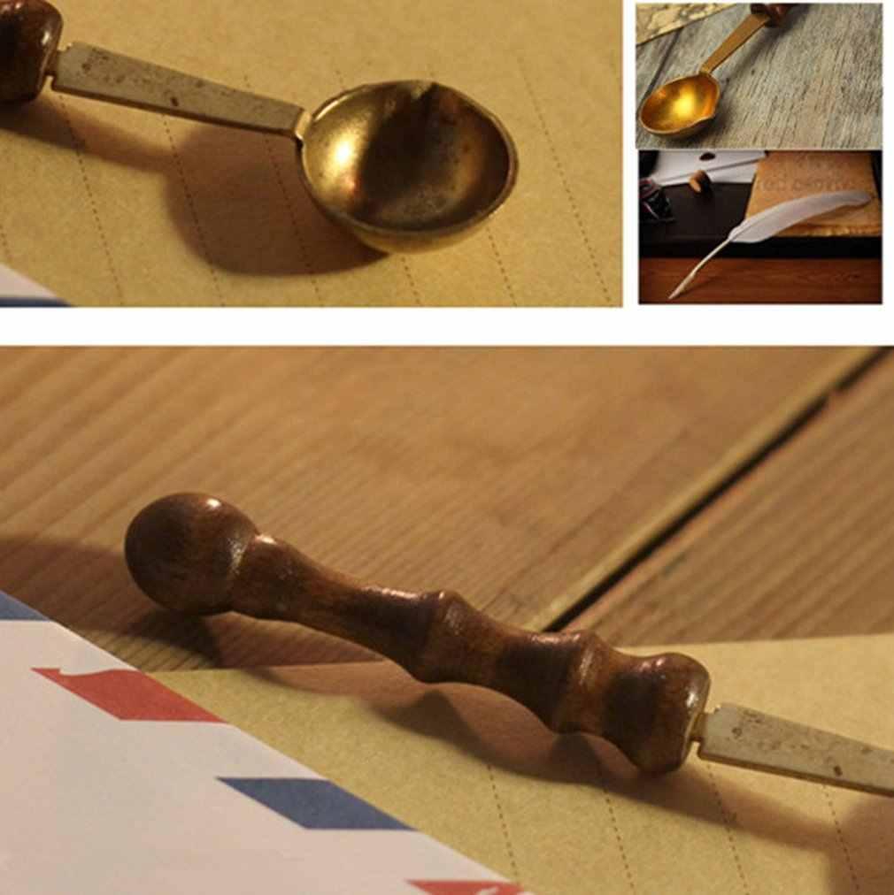木製ハンドルスプーン耐ホットスタンプシールシーリングワックス真鍮スプーン