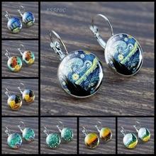Van Gogh Oil Painting Earring Artist Starry Night Ear Hook  Earrings Glass Cabochon Art Jewelry Women Christmas Gifts