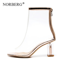 NORBERG 2019 sandals transparent zipper fish mouth shoes ladies sexy solid color high heels summer open toe