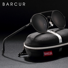 BARCUR 빈티지 알루미늄 마그네슘 태양 유리 남자 편광 된 선글라스 라운드 Steampunk 음영 브랜드 디자이너 안경