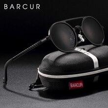 BARCUR Vintage Aluminium Magnesium Sun glass Männer Polarisierte Sonnenbrille Runde Steampunk Shades Marke Designer Brillen