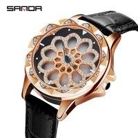 SANDA вращающийся циферблат Кварцевые часы для женщин роскошный кожаный ремешок хрустальные женские часы водонепроницаемые часы для движени...