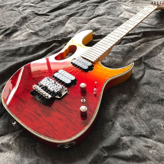 New style red color electric guitar,handmade 6 Strings Maple fingerboard flame top