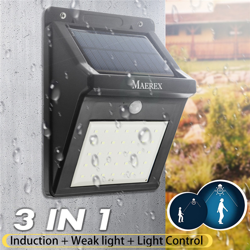 3-In-1 Solar Lights Outdoor 35 LEDs Super Bright Wall Lights PIR Motion Sensor Light Control Waterproof IP65 Security Lights