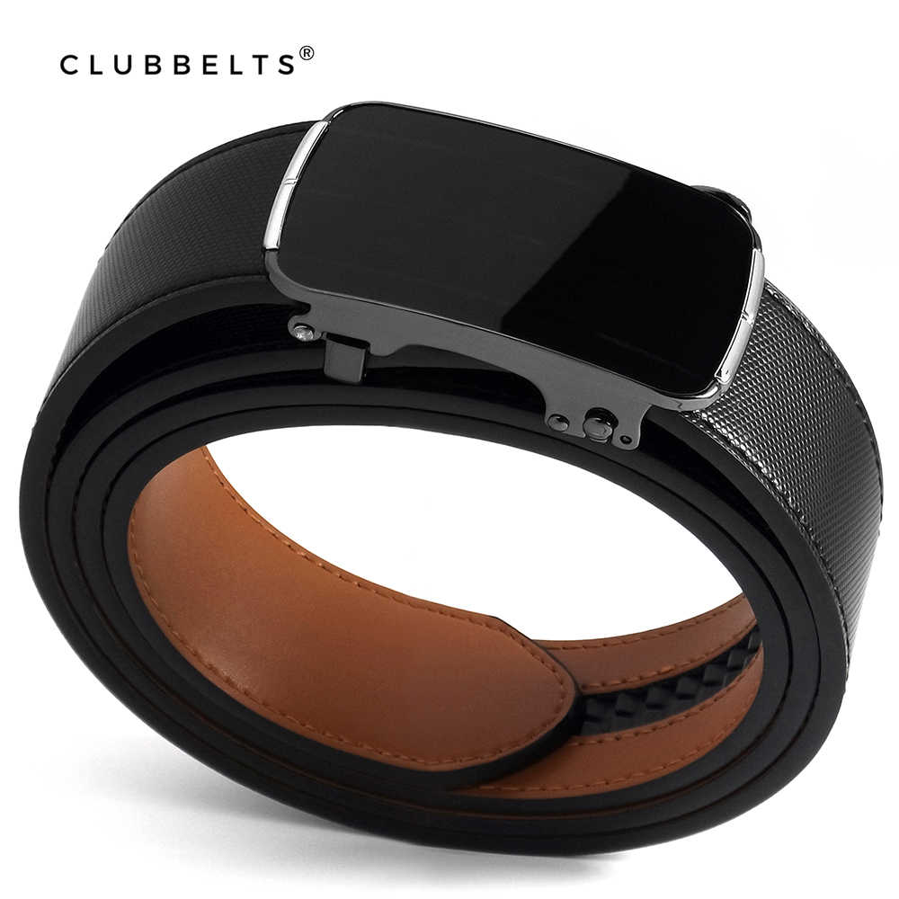 Clubbelts męski skórzany pasek z klamrą z elegancką automatyczną klamrą z prawdziwej skóry dla mężczyzn