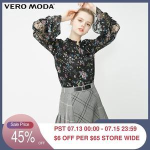 Женская кружевная прозрачная шифоновая блузка с цветочным принтом Vero Moda | 319151526