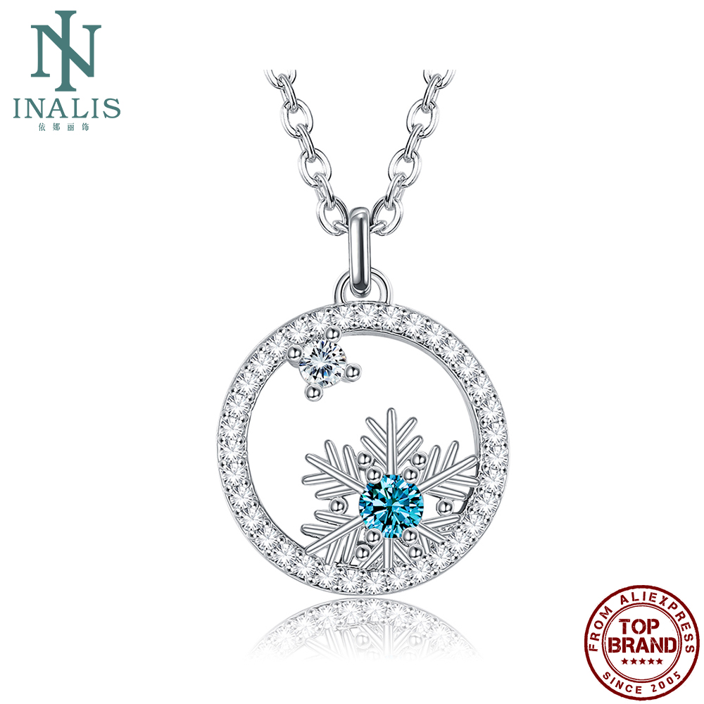 INALIS Geometric Christmas Snowflakes Pendant Necklaces For Women Romantic Cubic Zirconia Necklace Anniversary Fashion Jewelry