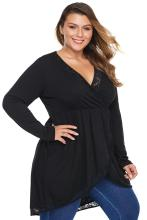 Echoine Plus Size 5XL 4XL Black Lace Panel Tulip Hem Smock Top Autumn Peplum Long Sleeve High Low Shirts Women