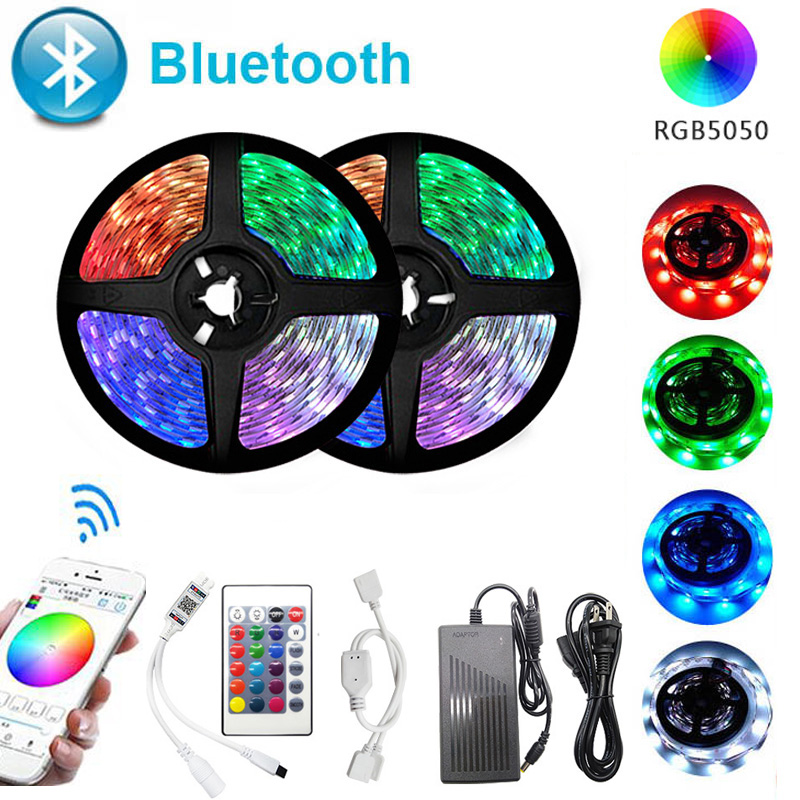 Bluetooth LED Strip Light RGB 2835 SMD 5050 Flexible Ribbon Waterproof RGB LED Light 5M 10M 15M Tape Diode 12V Bluetooth Control