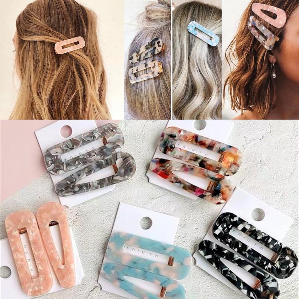 2pcs Vintage Hollow Hair Clip For Women Leopard Marble Textured Geometric Water Drop Duckbill Barrette Hairpin Hair Accessories