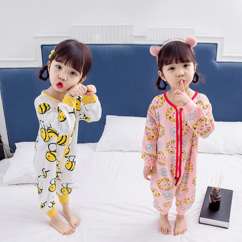 Girls Tracksuit 2019 Spring And Autumn New Style Korean-style Children Pure Cotton Cartoon Onesie Crawling Clothes Baby Pajamas