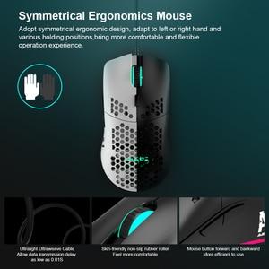 Image 4 - AJ390 ratón para videojuegos con luz LED, 6 colores, 16000DPI, ajustable, 7 teclas, diseño hueco, 69g, con cable para ordenador