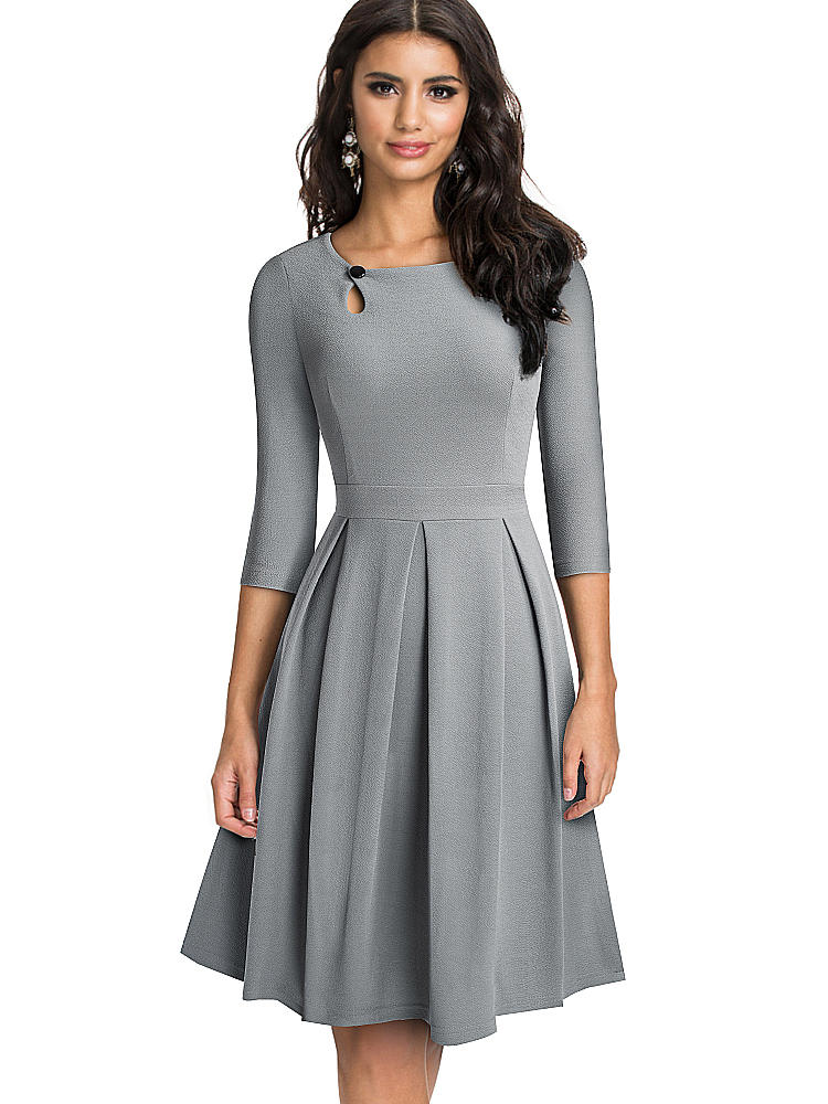 Button-Dresses Flared A-Line Party Nice-Forever Autumn Vintage Solid-Color Women