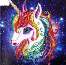 5D Diamond Painting Cartoon Colorful Unicorn Shiny alien Mosaic Cross Stitch Rhinestone Embroidery Home kids Bedroom Decor(China)