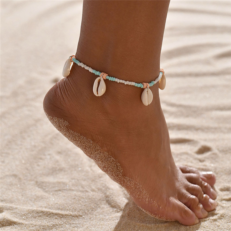NEWBUY Vintage Shell Beads Starfish Sea Turtle Anklets For Women New Multi Layer Anklet Leg Bracelet Handmade Bohemian Jewelry