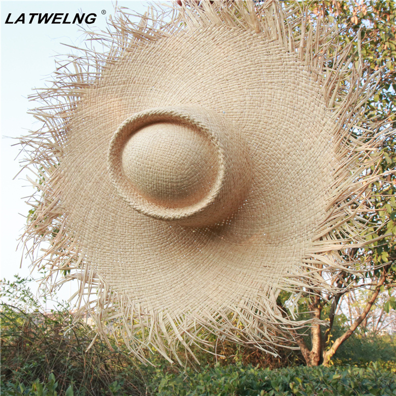 Fashion Big Size Brim Visor Hat For Women Floppy Raffia Panama Beach Hats Ladies Summer Vacation Sun Hat Wholesale