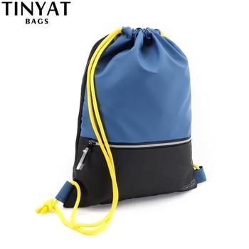 TINYAT Drawstring Pocket Bag sport gym sackpack Waterproof Backpack black sport backpack for men women 1