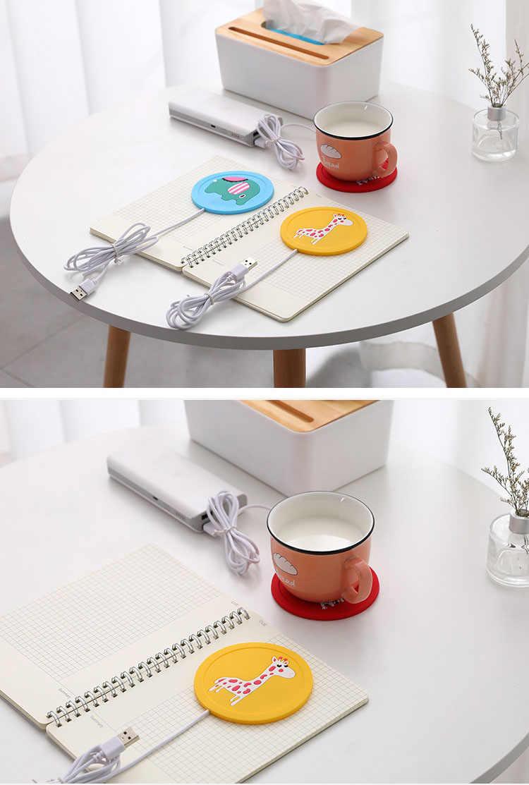 Güzel karikatür USB elektrikli süt kahve ısıtma ısıtmalı kupalar silikon defteri ofis ev ısıtıcı termostatik Coaster