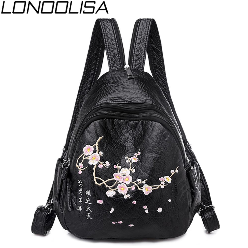 3 In 1 Chinese Style Embroidery Women Small Backpack Light Chest Bag For Ladies High Quality Washed Leather Bag Mochila Femme
