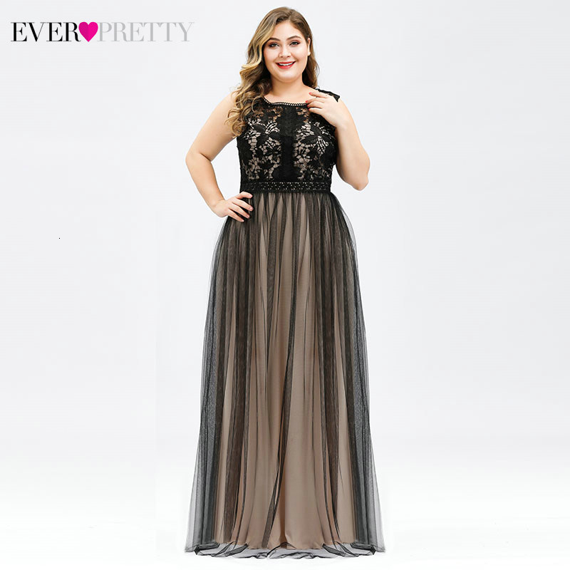 Plus Size Lace Bridesmaid Dresses Ever Pretty EZ07788 A-Line O-Neck Tulle See-through Women Formal Gowns For Wedding Party 2020