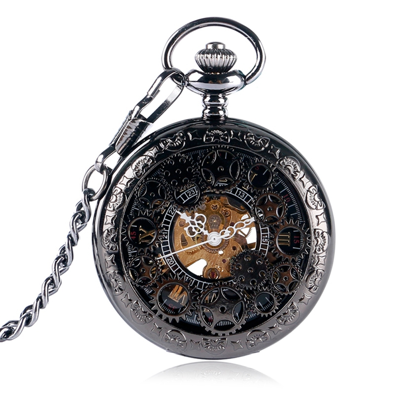 Trendy Hand-winding Mechanical Black Pocket Watches Retro Pendant Watch Neckalce Chain Clock Accessory Relogio Montres Zakhorlog