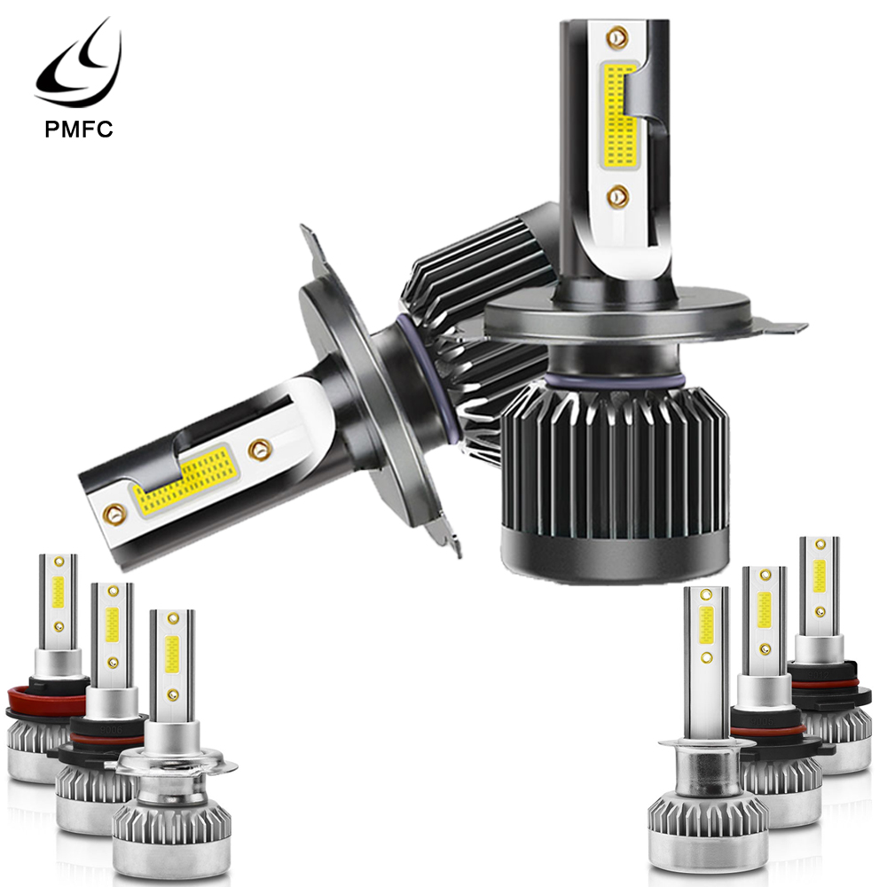 PMFC 2PCS <font><b>LED</b></font> Headlight Bulb COB <font><b>LED</b></font> Chips 6000K 20000LM White H1 H7 9005 9006 H8 9012 <font><b>H4</b></font> IP68 360 degree 12V 24V Car Styling image