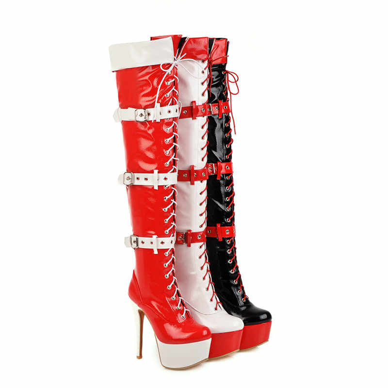 MORAZORA 2020 Yeni uyluk yüksek çizmeler kadın seksi ince yüksek topuklu platform çizmeler karışık renkler parti balo Gece Kulübü Ayakkabı kadın