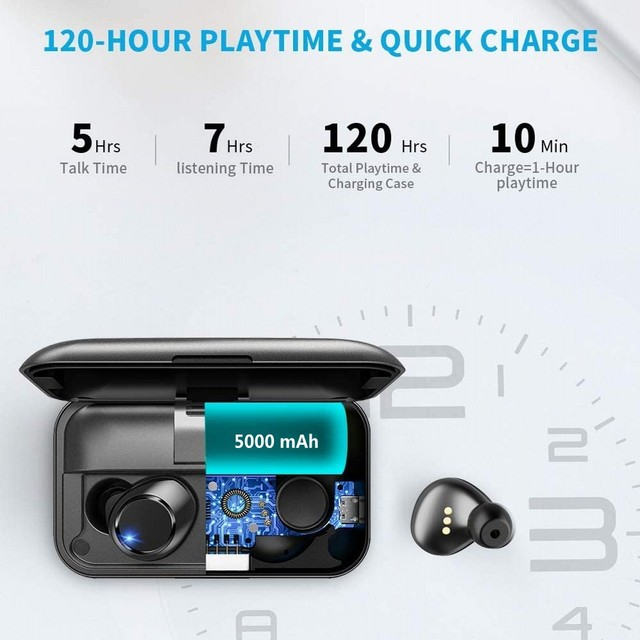 Bluetooth 5.0 Earbuds in-Ear TWS Stereo Headphones with Smart LED Display Charging Case IPX7 Waterproof 120H Playtime 1