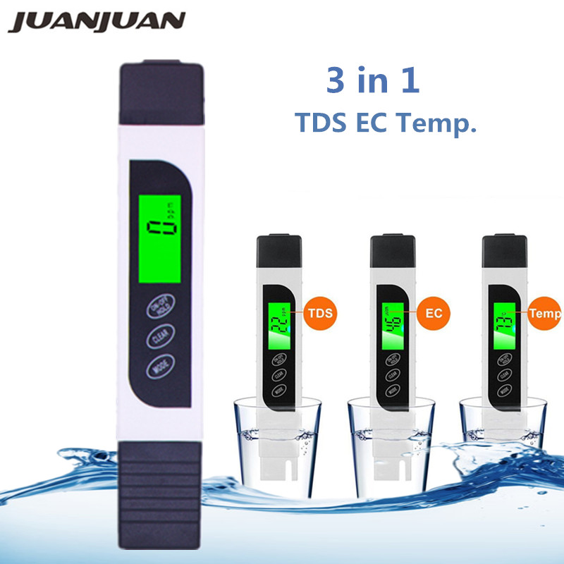 3 In 1 Digital TDS EC Meter Temperature Tester Conductivity Water Filter Purity Pen Liquid Quality Tools With Backlight 40%off