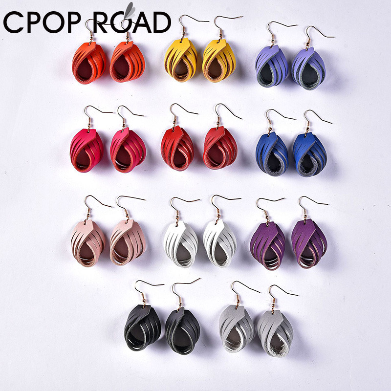 Cpop Twisted Flower Genuine Leather Earrings For Women Cute Lightweight Dangle Earrings Fashion Leather Jewelry Accessories Gift