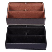 2 Pcs Black PU Leather Multi-Function Desk Stationery Organizer Storage Box, Pen/Pencil ,Cell Phone, Business Name Cards:1 Pcs W(China)